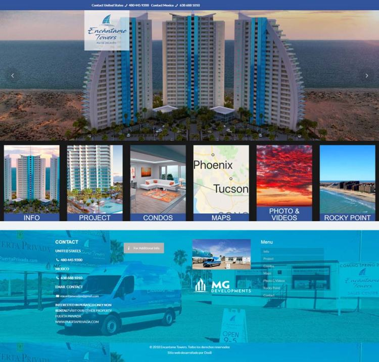 Encantame Towers Real Estate Project in Rocky Point Mexico (Puerto Penasco). Click here to visit Encantame Towers website.