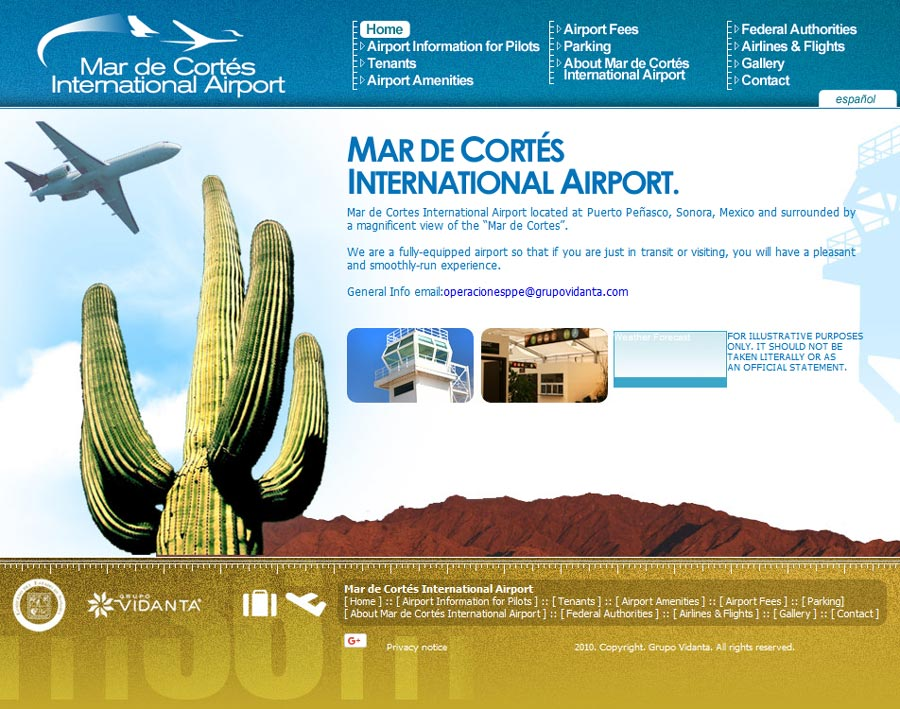Mar De Cortes International Airport in Rocky Point (Puerto Penasco). Click here to visit Mar De Cortes International Airport's website.