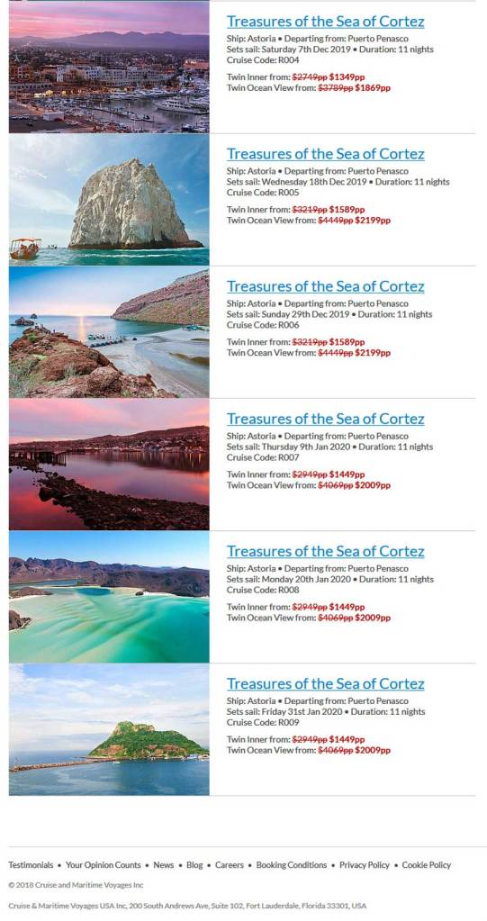 Cruise and Maritime Voyages Cruise List Dates for Mexican Cruises from Rocky Point Mexico (Puerto Penasco).
