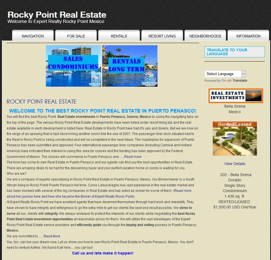 Realty Experts Real Estate in Rocky Point (Puerto Penasco). Click here to visit Realty Experts Real Estate website.