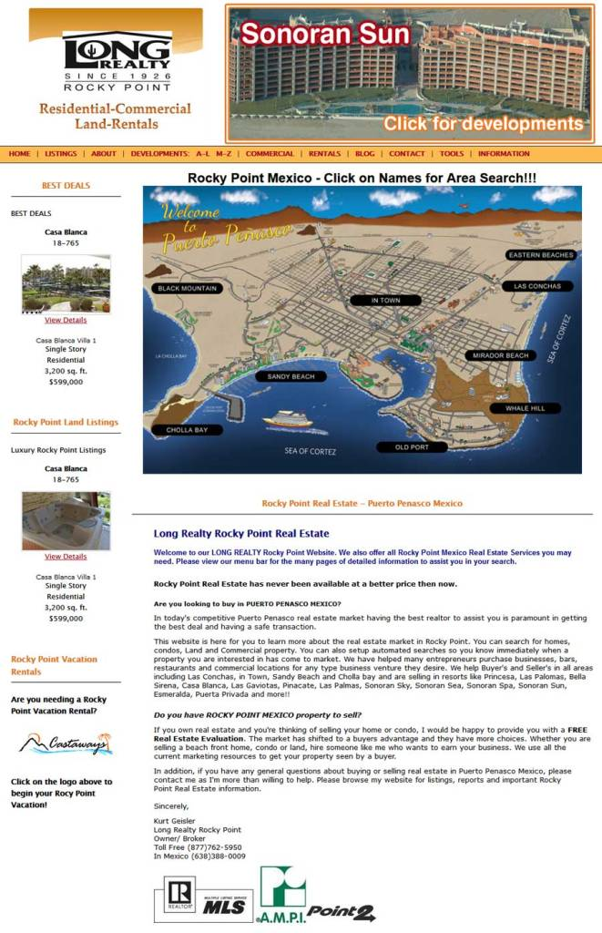 Long Realty Real Estate in Rocky Point (Puerto Penasco). Click here to visit Long Realty Real Estate's website.