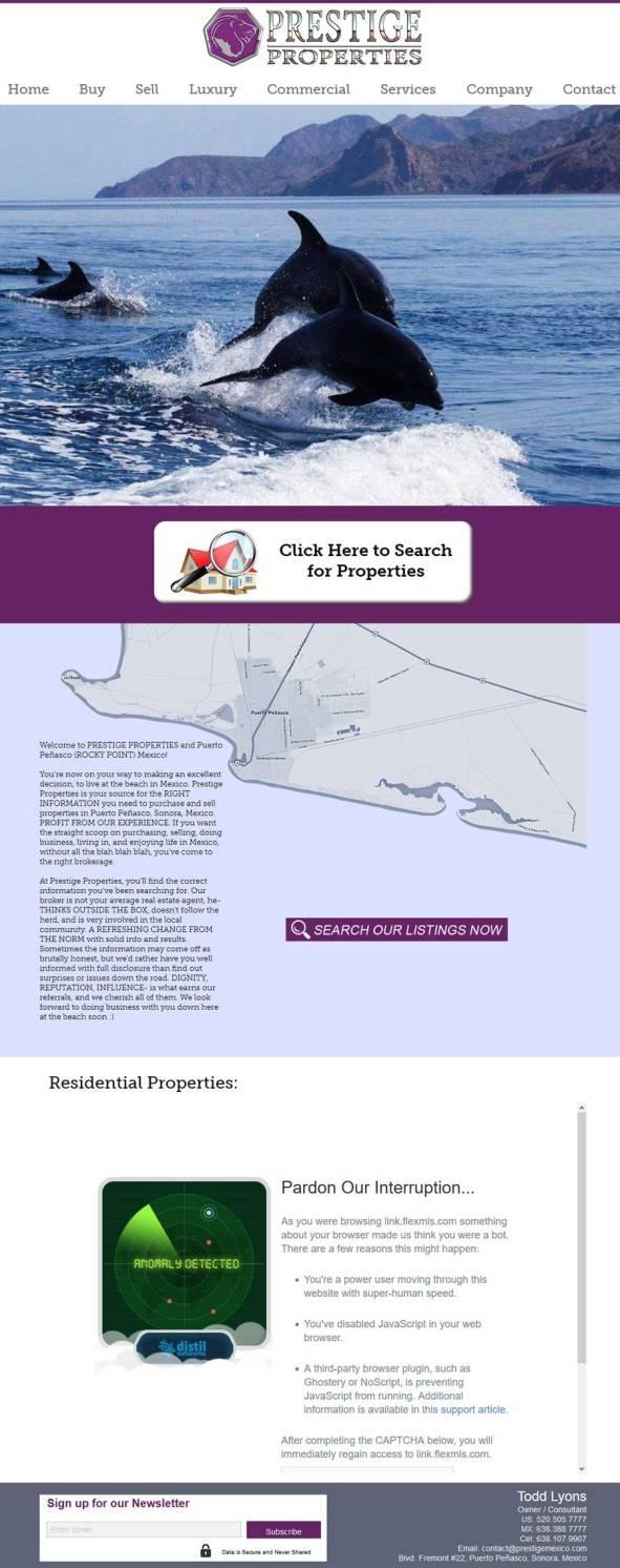 Prestige Properties Website for Rocky Point Mexico (Puerto Penasco)