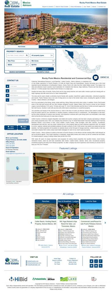 United Country Screenshot of their Website for Rocky Point Mexico, Puerto Penasco. Click anywhere on the picture to go to the website of United Country in Rocky Point Mexico (Puerto Penasco).