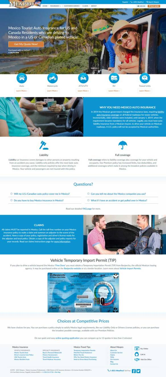 MexPro Mexican Insurance for Tourists driving in Rocky Point Mexico (Puerto Penasco).