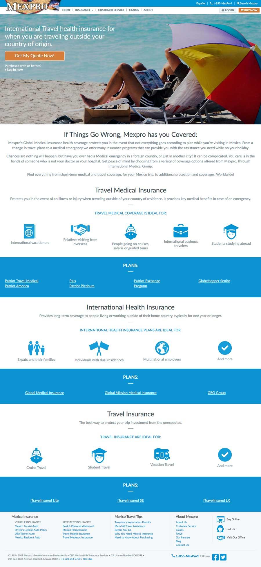 MexPro Travel Health Insurance international or Rocky Point Mexico (Puerto Penasco).