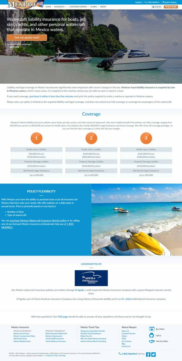 MexPro Mexican Insurance for Watercraft in Rocky Point Mexico (Puerto Penasco).