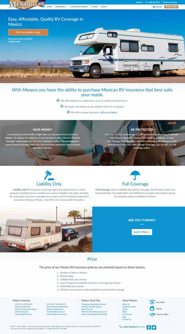 MexPro Mexican Insurance for RV's in Rocky Point Mexico (Puerto Penasco).