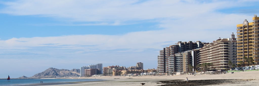 Sandy Beach Condo & Resort Landscape in Rocky Point Mexico (Puerto Penasco).